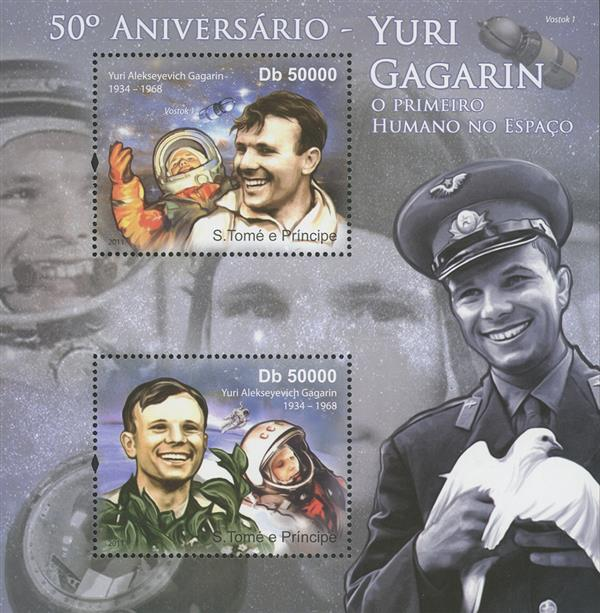 2011 Db50000 Yuri Gagarin, First Human in Space 50th Anniversary souvenir sheet of 2