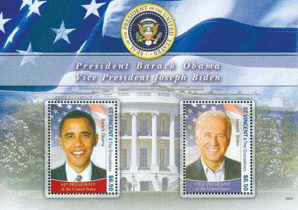 2008 $6.50 President Obama and Vice President Biden, Mint Souvenir Sheet, St. Vincent & The Grenadines