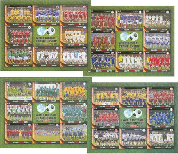 2010 St. Vincent World Cup 4 Mint Sheets
