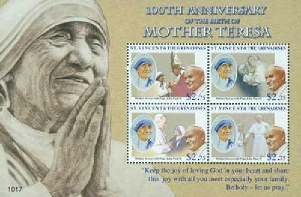 2010 St. Vincent Mother Teresa 4v Mint