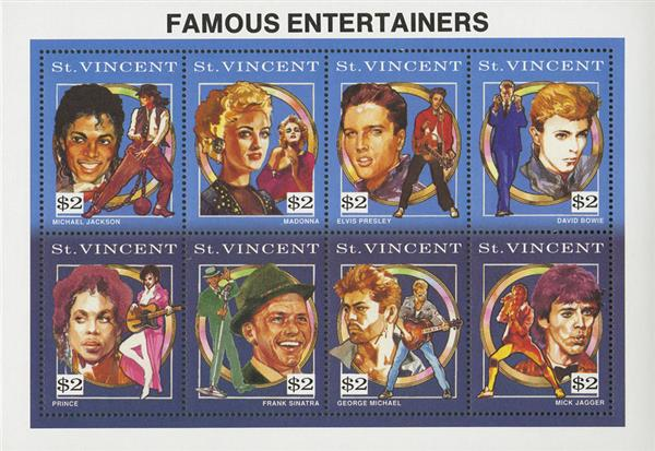 1991 Famous Entertainers sheet-Featuring David Bowie, Prince & George Michael