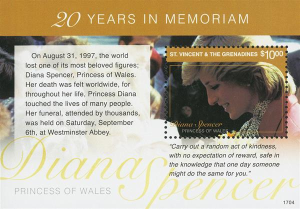 2017 $10 Diana Spencer, Princess of Wales - 20 Years in Memoriam souviner sheet
