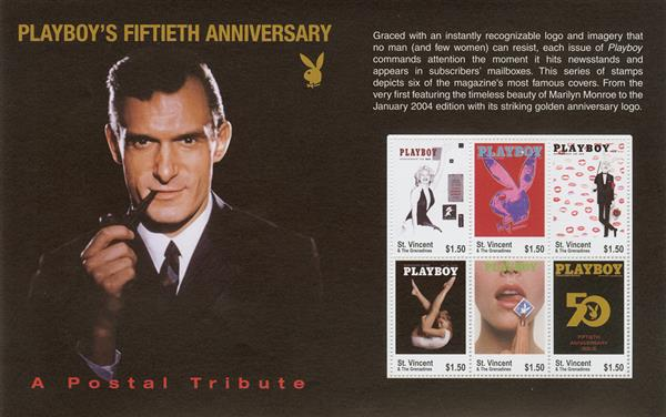 2003 $1.50 Playboy Magazine Covers, Playboy's 50th Anniversary sheet of 6 stamps