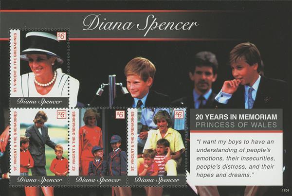 2017 $6 Diana Spencer, Princess of Wales - 20 Years in Memoriam sheet of 4