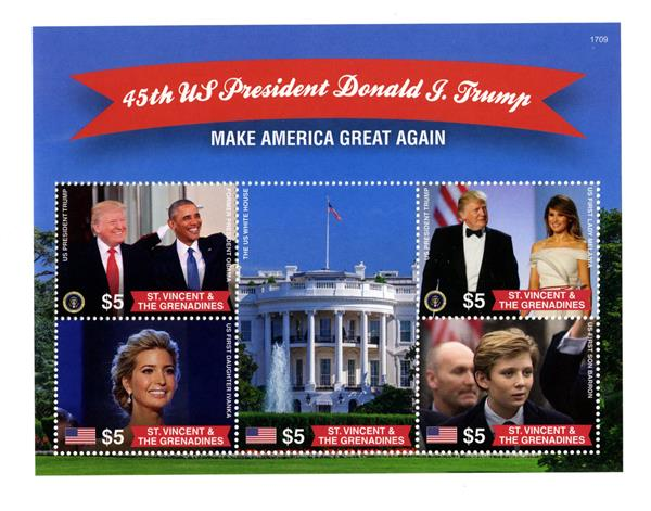 "2017 $5 President Trump ""Make America Great Again"" sheet of 5"