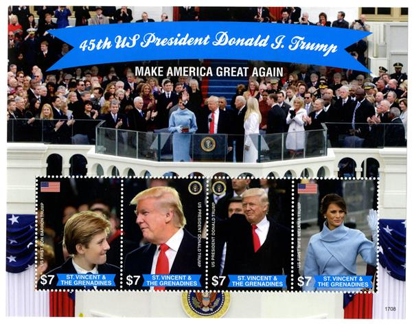 "2017 $7 President Trump & Family ""Make America Great Again"" sheet of 4"