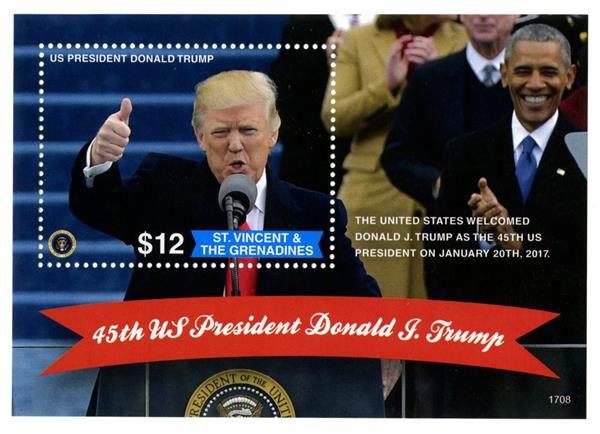 2017 $12 President Trump Giving Thumbs Up s/s of 1