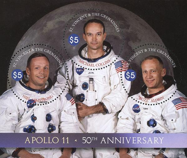 2018 $5 Apollo 11 50th Anniversary sheet of 3