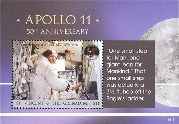 2018 $11 Apollo 11 50th Anniversary souvenir sheet of 1