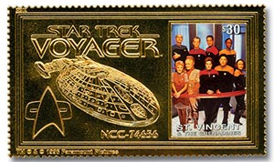 Star Trek Voyager Crew, gold foil