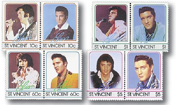 """Elvis Presley """"King of Rock N Roll"""", Mint, Set of 6 Stamps, St. Vincent"""