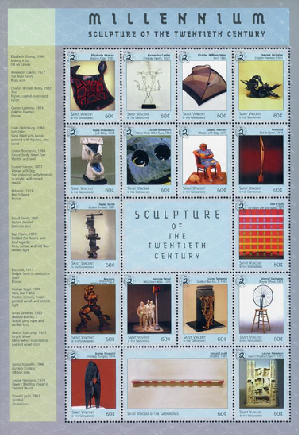 St. Vincent 1999 'Millenium - Sculptures of the Twentieth Century' Stamp Sheet