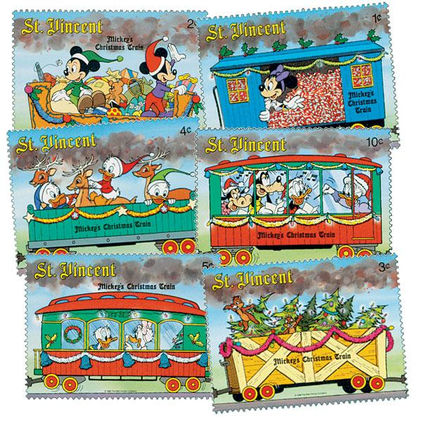 1988 Disney Christmas - Mickeys Train, Mint, Set of 6 Stamps, St. Vincent
