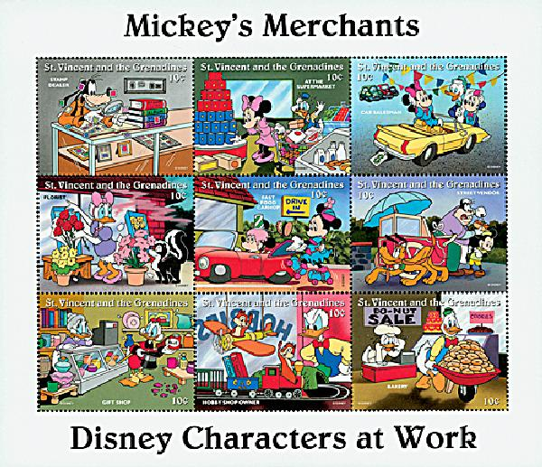 1996 Disneys Characters At Work - Mickeys Merchants, Mint Sheet of 9 Stamps, St. Vincent