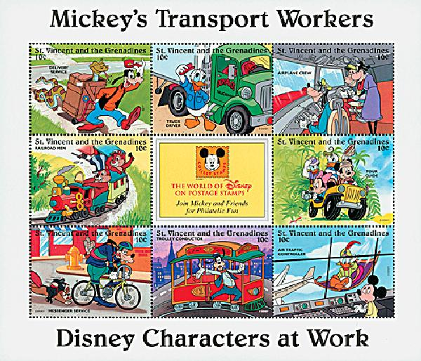 1996 Disneys Characters At Work - Mickeys Transport Workers, Mint Sheet of 9 Stamps, St. Vincent