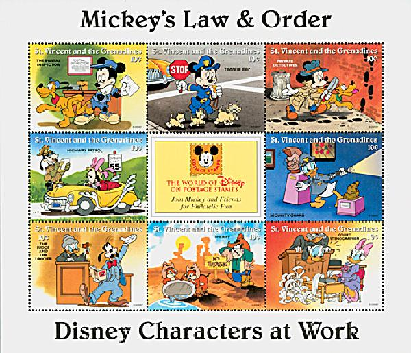 1996 Disneys Characters At Work - Mickeys Law and Order, Mint Sheet of 9 Stamps, St. Vincent