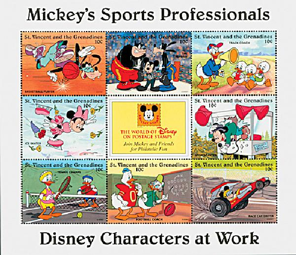 1996 Disneys Characters At Work - Mickeys Sports Pros, Mint Sheet of 8 Stamps, St. Vincent