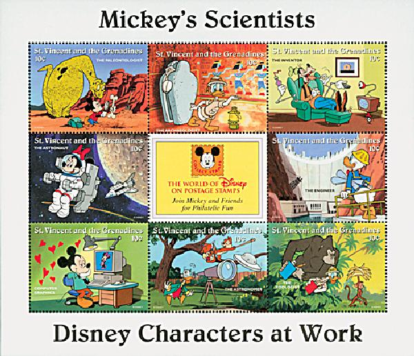 1996 Disneys Characters At Work - Mickeys Scientists, Mint Sheet of 8 Stamps, St. Vincent