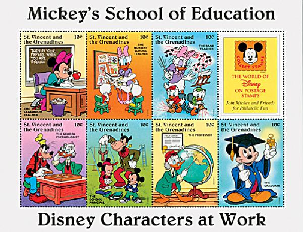 1996 Disneys Characters At Work - Mickeys School of Education, Mint Sheet of 8 Stamps, St. Vincent
