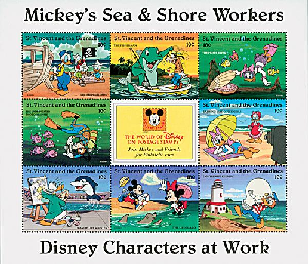 1996 Disneys Characters At Work - Mickeys Sea and Shore Workers, Mint Sheet of 8 Stamps, St. Vincent