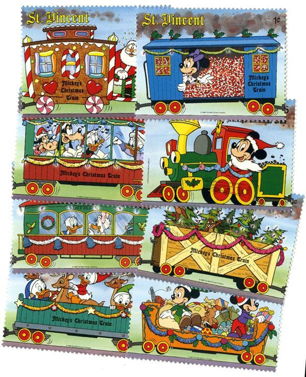 St. Vincent Christmas Train, 8 Stamps