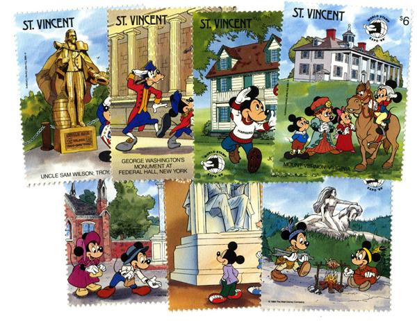 St. Vincent US Natl Monuments, 8 Stamps