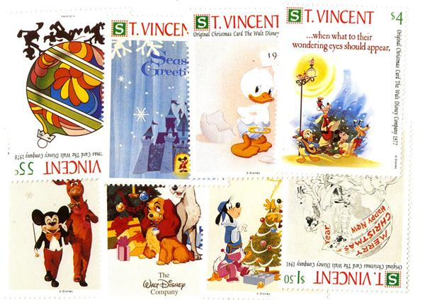 St. Vincent Christmas Cards, 8 Stamps