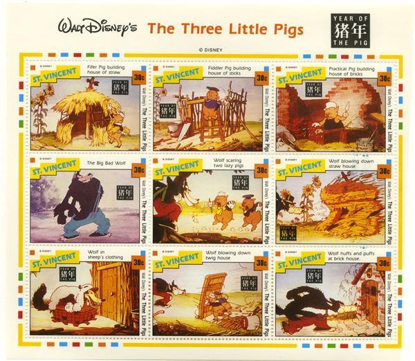 St. Vincent Three Little Pigs 9/sheetlet