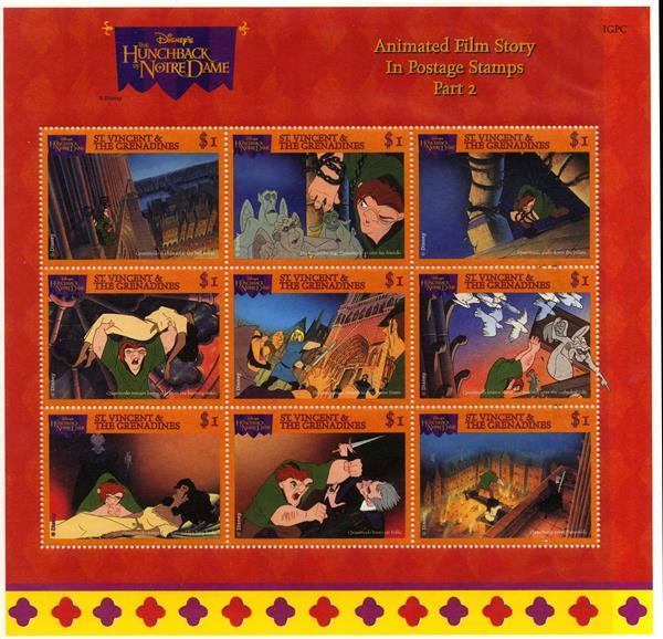 St. Vincent 1996 Hunchback #2, 9 Stamps
