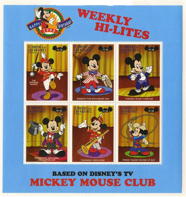 St. Vincent Mickey Mouse Club, 6 Stamps