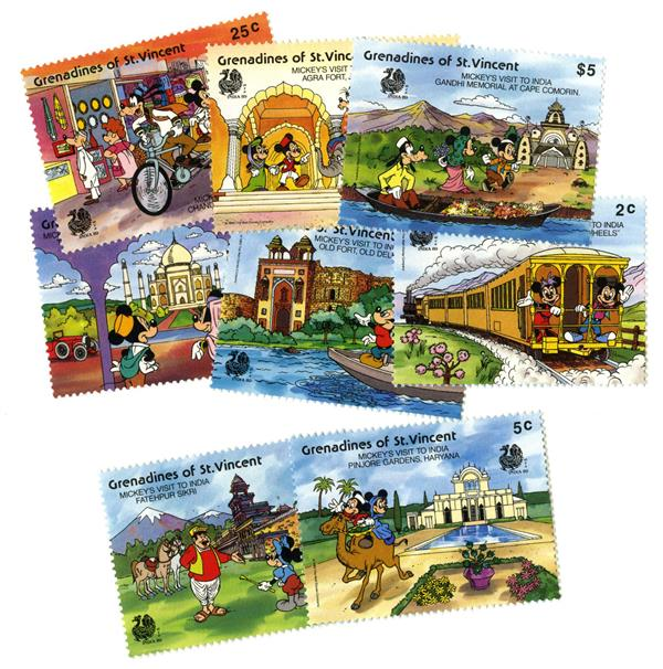 St. Vincent 1989 India Sites, 8 Stamps