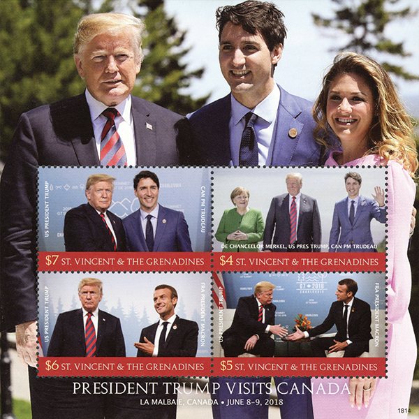 2018 President Trump Visits Canada, Mint Sheet of 4 Stamps