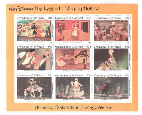 St. Vincent 1992 Sleepy Hollow, 9 Stamps