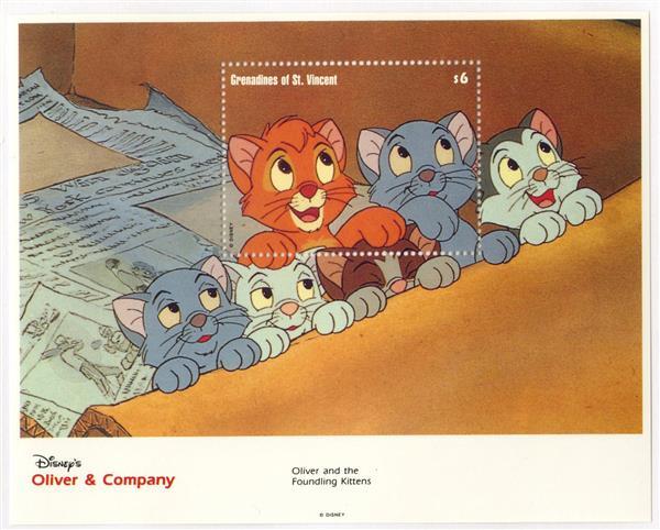 St. Vincent 1992 Oliver & kittens, S/S