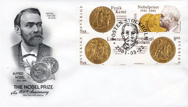 2001 Sweden #2415a-d - The Nobel Prize 100th Anniversary
