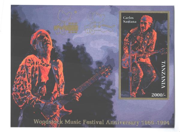 1995 Tanzania - Woodstock Music Festival 25th Anniversary - Carlos Santana souvenir sheet