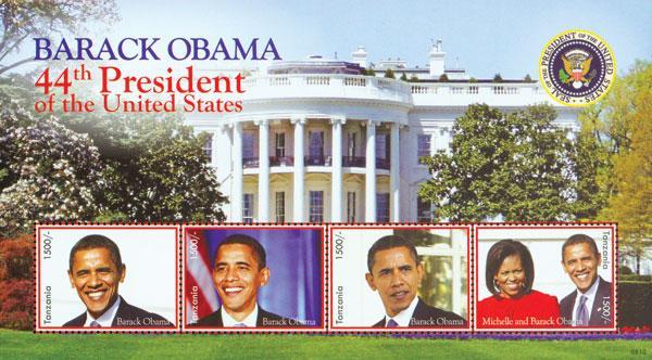 2008 President Barack Obama, 4 Stamps, Mint, Tanzania
