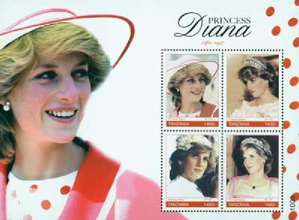 2010 Tanzania Princess Diana 4v M