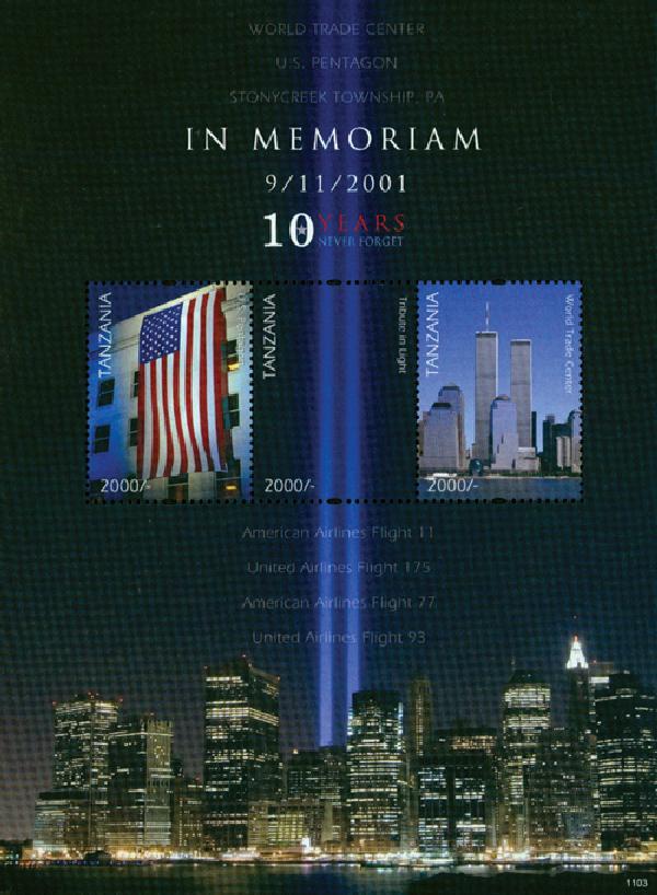 2011 Tanzania 9/11 10th Ann. 3v Mint