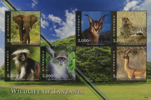 2015 Wildlife of Tanzania sheet of 6