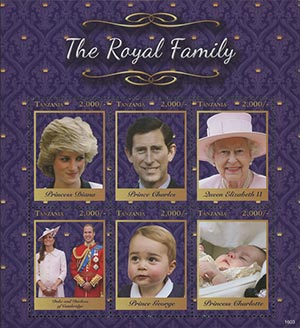 "2016 The ""Royal Family"" Souvenir Sheet, Mint, 6 Stamps, Tanzania"