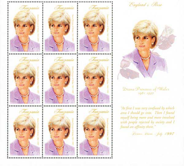 Princess Diana 'England's Rose', Mint Souvenir Sheet of 9 Stamps