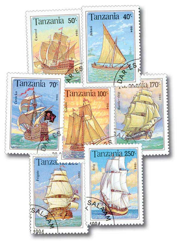 Ships, Used, Set of 7 Stamps, Tanzania