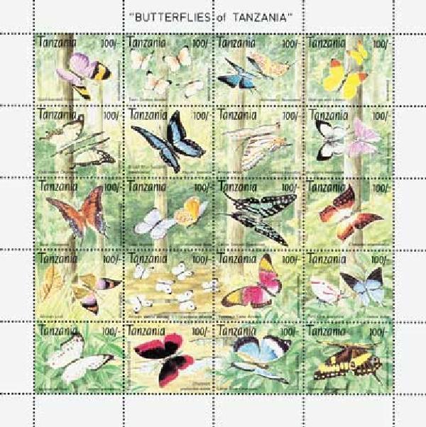 1993 Tanzania 1053a-t Butterflies, 20v