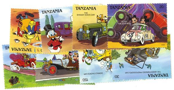 Tanzania 1990 Automobiles, 8 Mint Stamps