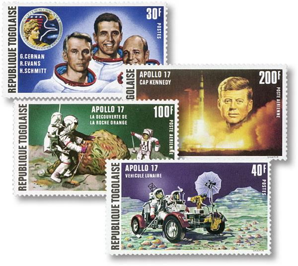 1973 Apollo 17 set of 4 stamps