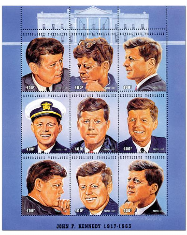 Togo JF Kennedy, sheet of 9, mint