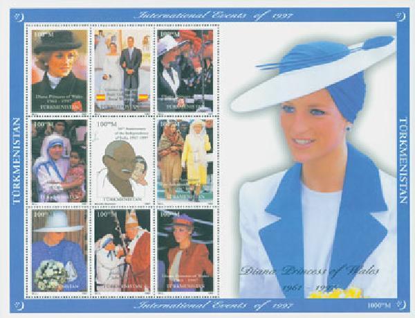 1997 Turkmenistan, Diana bl & wht dress