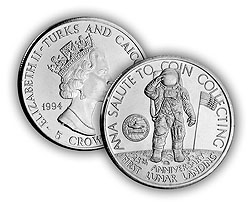1994 Turks & Caicos 5 Crown - First Lunar Landing 25th Anniversary Coin - ANA Salute to Coin Collecting