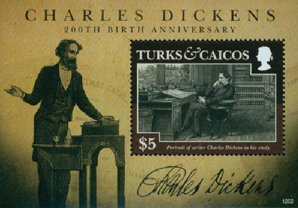 2012 Turks & Caicos C. Dickens Anniv.s/s
